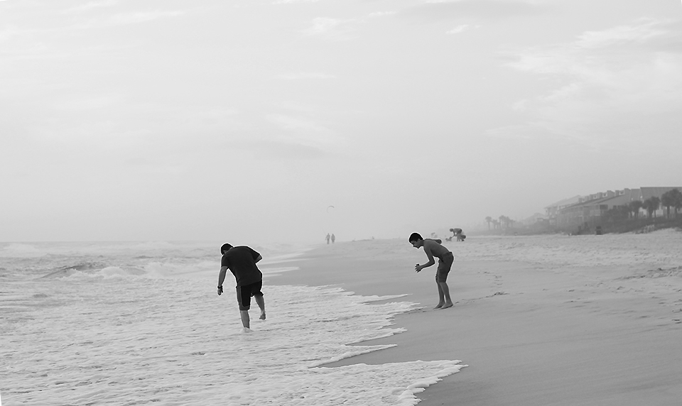 Panama City Beach - Brothers who played on the beach at sunset as their bather looked on