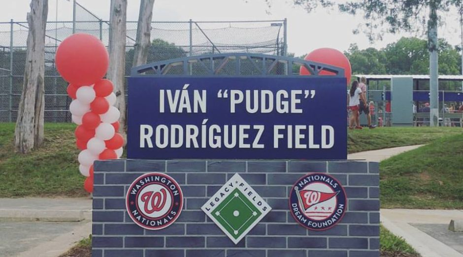 The Iván 'Pudge' Rodríguez Field monument sign located at the entrance to the field.