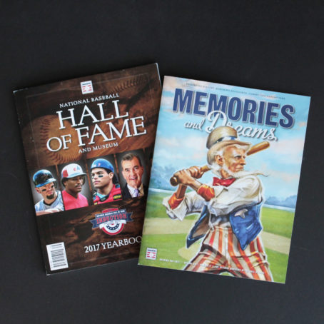 The covers of MLB's Hall of Fame 2017 Yearbook and Opening Day Magazine.